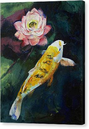 Koi And Lotus Flower Canvas Print by Michael Creese