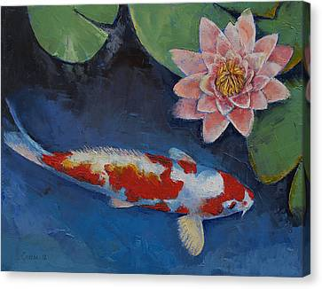 Koi And Water Lily Canvas Print by Michael Creese