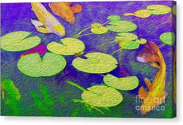 Koi Fish Under The Lilly Pads  Canvas Print by Jon Neidert