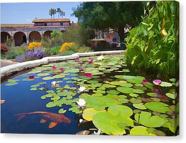 Koi Pond In California Mission Canvas Print by Cliff Wassmann