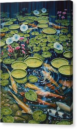 Koi Pond Canvas Print by Larry Taugher