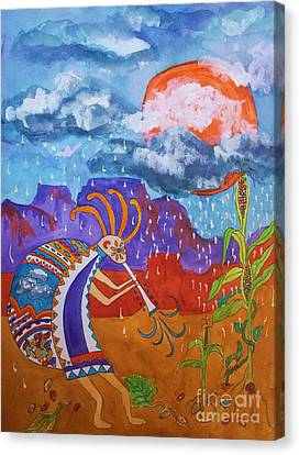 Kokopelli Bringing The Rains Canvas Print by Ellen Levinson
