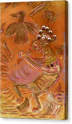 Kokopelli Dancing Up A Storm Canvas Print by Anne-Elizabeth Whiteway
