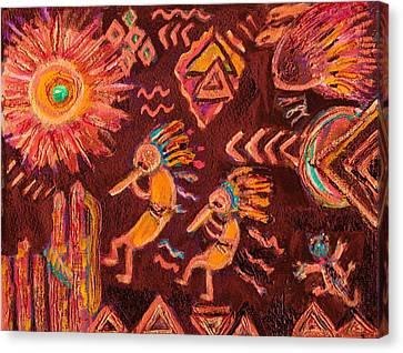 Kokopellis And Friends Canvas Print by Anne-Elizabeth Whiteway