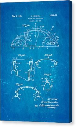 Komenda Vw Beetle Body Design Patent Art 1945 Blueprint Canvas Print by Ian Monk