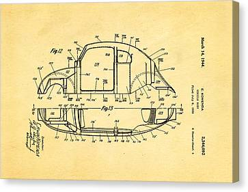 Komenda Vw Beetle Body Design Patent Art 3 1944 Canvas Print by Ian Monk