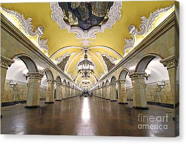 Komsomolskaya Station In Moscow Canvas Print by Lars Ruecker