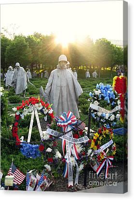 Korean War Memorial In Dc Canvas Print by Olivier Le Queinec