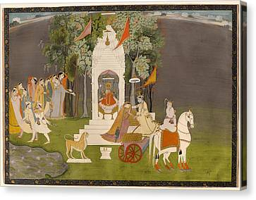 Krishna Abducting Rukmani From The Temple Canvas Print by Mountain Dreams