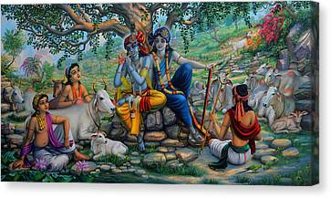 Krishna And Balaram With Friends On Govardhan Hill Canvas Print by Vrindavan Das