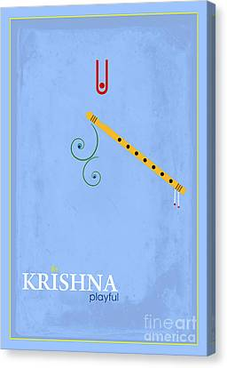 Krishna The Playful Canvas Print by Tim Gainey