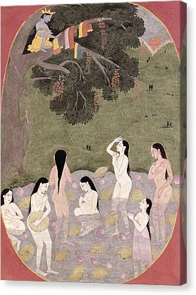 Krishna With The Cow Girls Clothes, Tehri-garhwal, C.1820-30 Wc On Paper Canvas Print by Pahari School