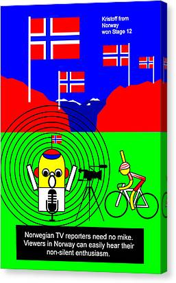 Kristoff From Norway Won Stage 12 Canvas Print by Asbjorn Lonvig