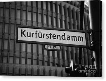 Kurfurstendamm Street Sign Berlin Germany Canvas Print by Joe Fox
