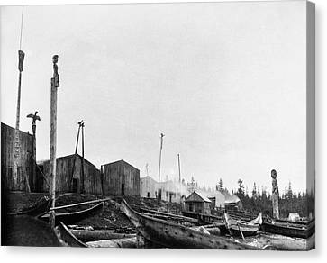 Kwakiutl Village, 1894 Canvas Print by Granger