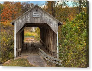 Ky Hillsboro Or Grange City Covered Bridge Canvas Print by Jack R Perry