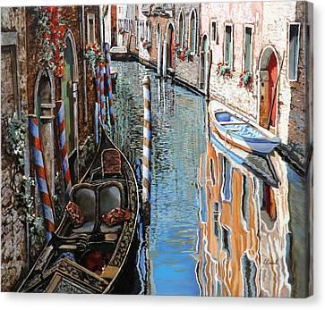 La Barca Al Sole Canvas Print by Guido Borelli