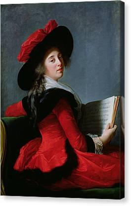 La Baronne De Crussol, 1785 Oil On Canvas Canvas Print by Elisabeth Louise Vigee-Lebrun