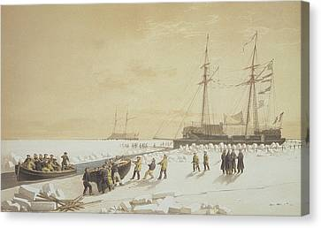 La Cannonniere Weighing Anchor Canvas Print by A. & Morel-Fatio, A. Bayot