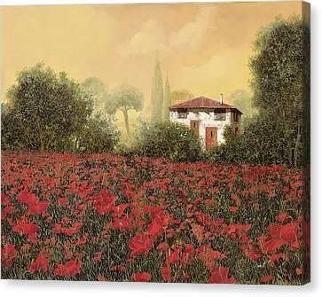 La Casa E I Papaveri Canvas Print by Guido Borelli