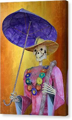La Catrina With Purple Umbrella Canvas Print by Christine Till