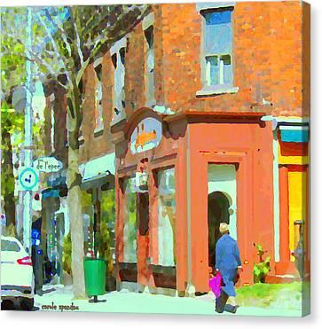 La Hacienda Resto Rue De L'epee Et Van Horne Outremont Montreal Spring City Scene Carole Spandau Canvas Print by Carole Spandau