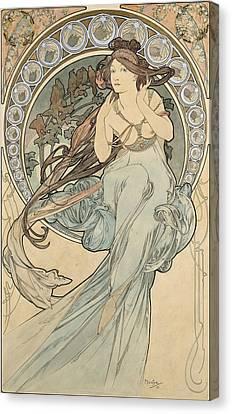 La Musique, 1898 Watercolour On Card Canvas Print by Alphonse Marie Mucha