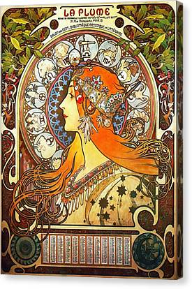 La Plume Zodiac Canvas Print by Alphonse Mucha