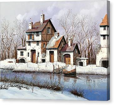 La Prima Neve Canvas Print by Guido Borelli