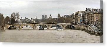 La Seine - Pont Royal - Paris Canvas Print by J Morgan Massey