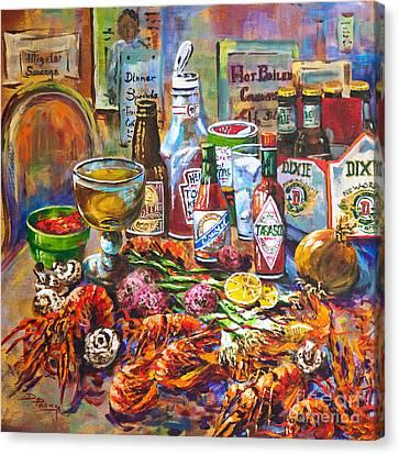 La Table De Fruits De Mer Canvas Print by Dianne Parks