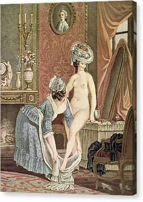 La Toilette Engraving By Louis Marin Canvas Print by Nicolas Rene Jollain