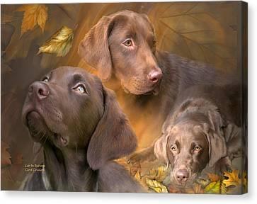 Lab In Autumn Canvas Print by Carol Cavalaris