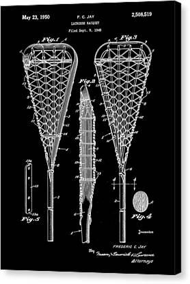 Lacrosse Stick Patent 1948 - Black Canvas Print by Stephen Younts