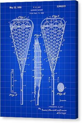 Lacrosse Stick Patent 1948 - Blue Canvas Print by Stephen Younts