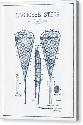 Lacrosse Stick Patent From 1950  -  Blue Ink Canvas Print by Aged Pixel