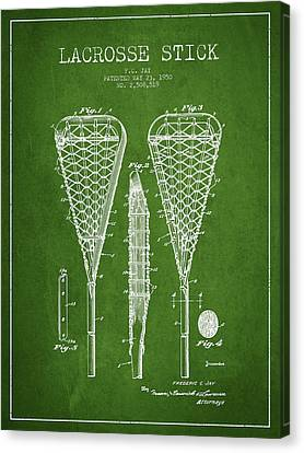 Lacrosse Stick Patent From 1950- Green Canvas Print by Aged Pixel