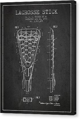 Lacrosse Stick Patent From 1970 - Charcoal Canvas Print by Aged Pixel