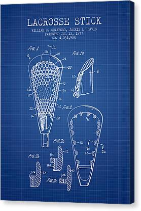 Lacrosse Stick Patent From 1977 -  Blueprint Canvas Print by Aged Pixel