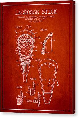 Lacrosse Stick Patent From 1977 -  Red Canvas Print by Aged Pixel