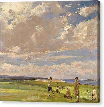 Lady Astor Playing Golf At North Berwick Canvas Print by Sir John Lavery