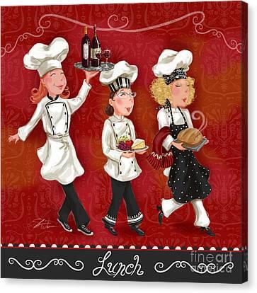 Lady Chefs - Lunch Canvas Print by Shari Warren