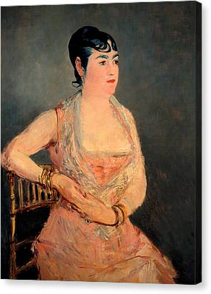 Lady In Pink Canvas Print by Edouard Manet