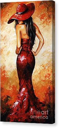 Lady In Red 035 Canvas Print by Emerico Imre Toth