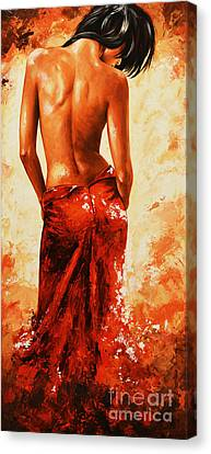 Lady In Red 27re Large  Canvas Print by Emerico Imre Toth