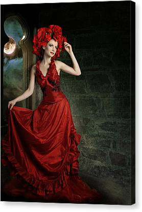 Lady In Red Canvas Print by Ester  Rogers