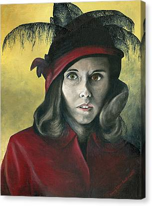 Lady In Red Canvas Print by Mary Ellen Anderson
