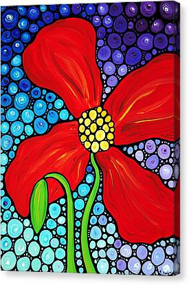 Lady In Red - Poppy Flower Art By Sharon Cummings Canvas Print by Sharon Cummings