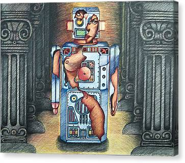 Lady In The Robot Canvas Print by Larry Butterworth