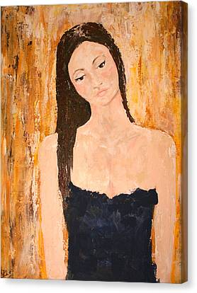 Lady In Waiting Canvas Print by Kathy Peltomaa Lewis
